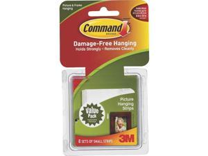 3M 17205 Command Picture Hanging Strips White Small 8 sets/pack