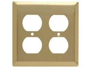 Wall Plate Smooth Polished Brass Two Outlets Easy Install Pass and Seymour
