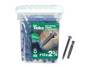 12X2-3/4 Steel Flat Screw, 200/Jar Teks Screws 21386 092097213869
