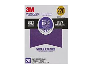 "Pro Grade No-Slip Grip Advanced Sandpaper, 9 X 11""es, 220 Grit, 20/Pack 3M"