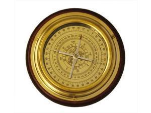 "6"" Solid Brass Navigational Desktop Compass with Wood Base"