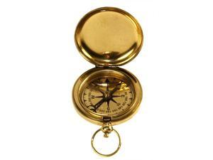"""2"""" Brass Face Pocket Compass with Cover - Hiking and Camping"""