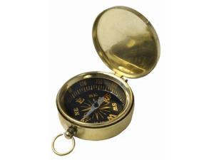 "1 3/4"" Pocket Compass Key Chain - Brass with Black Face"