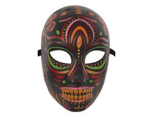 Black and Green Day of the Dead Skeleton Mask - Dia De Los Muertos