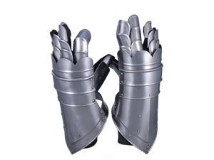 Leather and Metal Gauntlet Gloves: Medieval Costume