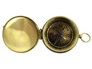 "1 3/4"" Small Brass Face Pocket Compass with Cover"
