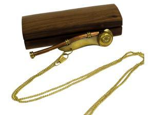 Brass Nautical Boatswain Whistle - Bosun with Wooden Box