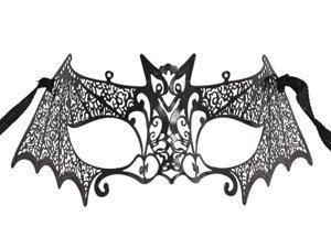 Black Metal Laser Cut Bat Mask - Venetian Costume