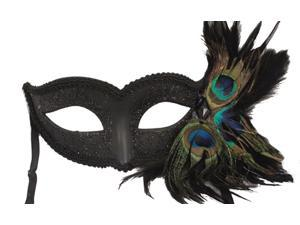 PEACOCK MASQUERADE MASK - Feathered Masks - VENETIAN