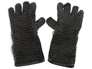 Medieval Costume Gauntlet Gloves - Steel Chainmail and Leather Armor