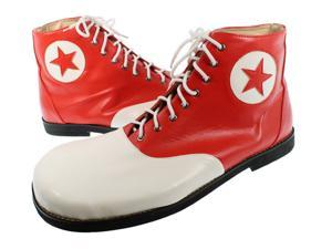 White and Red Pleather Star Goofy Clown Shoes - Fun Novelty Costume
