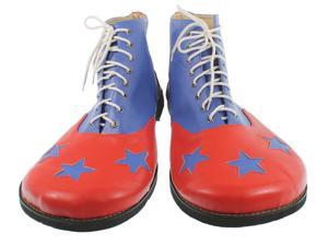 Blue and Red Pleather 3 Star Goofy Clown Shoes - Fun Novelty Costume