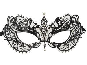Black Masquerade Mask - Laser Cut Metal and Rhinestones