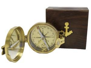 Brass Lensatic Desktop Compass w/Wooden Box: Military Collection