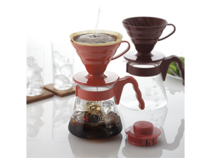 Hario V60 Coffee Dripper Glass Server Starter Set Red Pour Over Brew 02 VCSD-02R