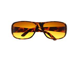 Men's Sports Wrap Around Driving Blue Blocking Sunglasses Amber High Tortoise