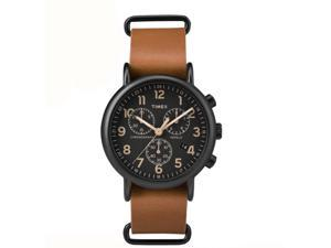 Timex Weekender Chrono Oversized Tan Leather Black Dial Watch