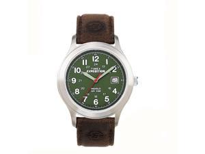 Timex Expedition Metal Field FullSize Brown Strap Olive Dial Quartz Analog Watch