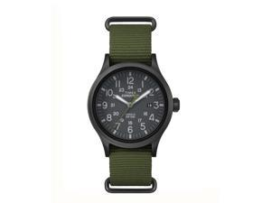 Timex Expedition Scout Green Slip Thru Strap with Black Dial Watch