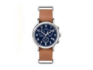 Timex Weekender Chrono Oversized Round ST Case Blue Chrono Dial Tan Strap Watch