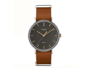 Timex Weekender FairField 41MM Brown Leather Black Dial Quartz Analog Watch