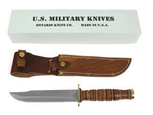"Ontario ONONP4 Knives Fixed Knife Leather Handle P4 U S M C Combat 12 1/4"" Overa"