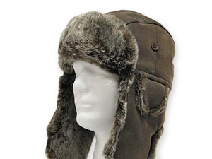 USHANKA TROOPER Brown Pilot AVIATOR Soft Faux Fur Leather Hat Trapper Men and Women 7 5/8