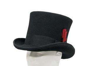 SEBASTIAN VICTORIAN Mad Hatter Tall Top Hat Wool Felt Classic 7-1/8