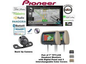 "Pioneer AVIC-7100NEX 7"" DVD Navigation w/ TWO Headrest Monitors & Backup Camera and a free SOTS air freshener"