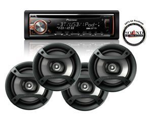 "Pioneer DEH-X6800BT CD Receiver w/ Built in Bluetooth Two Pair of 6.5"" Speakers"