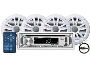 "Boss Marine MR648S CD MP3 Receiver w/ 2 Pairs of MR6W 6.5"" White Speakers"