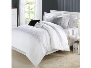 Bed-In-A-Bag 8-Piece Comforter Bed Set, Grace White, Queen
