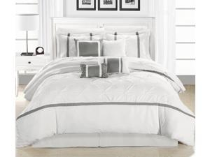 Vermont Silver & White 8 Piece Embroidered Comforter Bed In A Bag Set