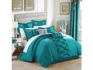 Ruth Ruffled Turquoise 8 Piece Comforter Bed In A Bag Set