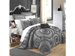 Rosalia Grey Ruffled Applique 11 Piece Comforter Bed In A Bag Set