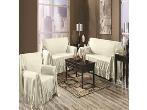 Venice Home 3 Piece Sofa, Loveseat, Chair Protector Throw Cover Set Ivory