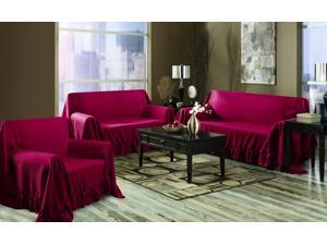 Venice Home 3 Piece Sofa, Loveseat, Chair Protector Throw Cover Set Ruby