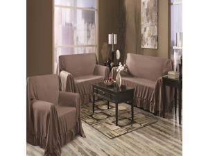 Venice 3 Piece Sofa, Loveseat, Chair Protector Throw Cover Set Chocolate