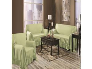 Venice Home 3 Piece Sofa, Loveseat, Chair Protector  Throw Cover Set Sage