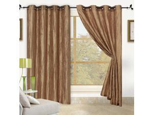 """Sherry Crushed Satin Grommet Window Panel 84"""" - 2 PACK  Antique Gold"""