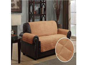 Furniture Protector Pet Cover Quilted Microsuede Loveseat 88 x 76 - Camel
