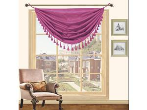 Holly Faux Silk Hanging Tassels Window Valance 3 Pack - 36 x 37