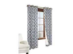 Thermalogic Trellis Cotton Base Cloth Grommet Top Window Panel Navy
