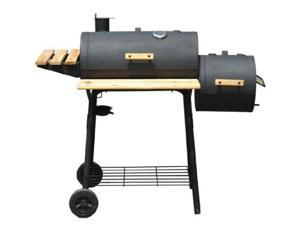 Outsunny Backyard Charcoal BBQ Grill / Offset Smoker Combo w/ Wheels