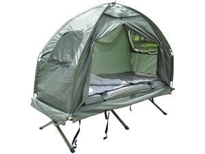 Compact Portable Foldable Pop Up Tent Camping Cot w/ Air Mattress & Sleeping Bag