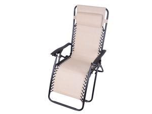 Outsunny Zero Gravity Recliner Lounge Patio Pool Chair - Cream
