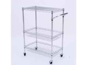 """HomCom 24"""" Portable Rolling Wire Basket Kitchen Storage Trolley"""