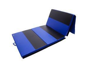 Soozier 4 #39; x 10 #39; x 2  PU Leather Gymnastics Tumbling  #47; Martial Arts Folding Mat - Blue