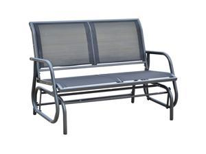 "Outsunny 48"" Outdoor Patio Swing Glider Bench Chair - Black"
