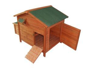 Pawhut Deluxe Wooden Large Chicken Coop / Hen House w/ 2 Roosting Poles